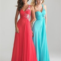 Empire Waist One Shoulder Beaded Chiffon Prom Dress PD2098