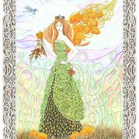 Pumpkin Faerie with oak leaves, acorns, archival print, 8.5 x 11