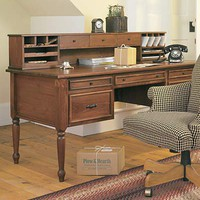 USA-Made Solid Pine Savannah Desk And Desktop Organizer - Plow & Hearth