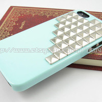 Green iphone 5 hard case,silver studded iphone 5 case,stud studs pyramid hard cover skin case for iphone 5 case