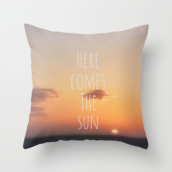 Here Comes The Sun Throw Pillow by Ally Coxon | Society6