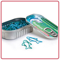 Sardine Fish Novelty PAPER CLIPS Tin Can Box Office Supply OTOTO Design NEW GIFT