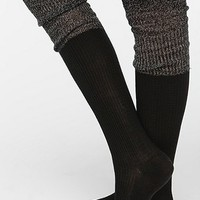 Metallic Cuff Thigh-High Sock