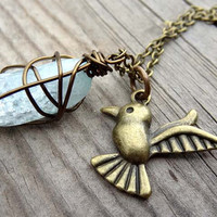 Light Blue Handmade Wire Wrapped Quartz Bronze Bird Pendant Necklace with Crystal Bead Accents