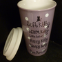 Big BANG Theory  SOFT KITTY Travel Mug, Purple with White Polka Dots
