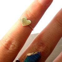 Heart Knuckle Ring -Layering Above the knuckle Gold Brass Stacking Ring