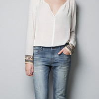 SHEER BLOUSE WITH DIAMANTE CUFF - TRF - New this week - ZARA United States