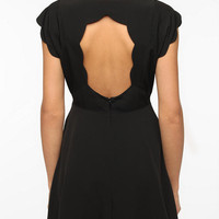 Pins and Needles Silky Scallop-Back Dress