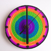 Psychedelic CD Wall Clock, polymer clay, bright colors, recycled clock