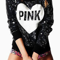 victoria secrets pink BLING SWEATSHIRT LIMITED EDITION FASHION SHOW NWT! LARGE