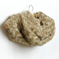 Camel Beige Fluffy Rosebud Plush Cowl , Faux Fur Loop Infinity Scarf