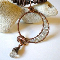 Labradorite Crescent Moon Copper Wire Wrap Pendant Citrine Briolette