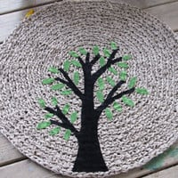 OOAK Upcycled Crochet Rag Rug. Rustic Tree Rug. Round Crochet Rug. Made to Order. You Choose Colors.