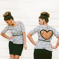 Black Friday Sale Peplum Heart Cut out Shirt in Grey Cream Made to order Upcycled Heart Top