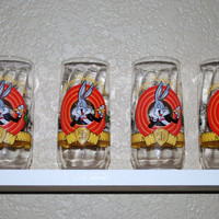 Vintage Bugs Bunny Tall Glassware, 50th anniversary collectible glassware, Looney tunes characters, set of 4 vintage 90's glassware