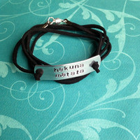 Custom Hand Stamped Suede Bracelet- Pick Your Own Phrase Color &amp; Font