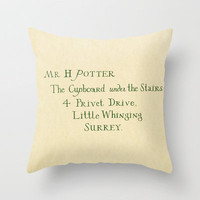 Mr. Harry James Potter - Hogwarts Invitation/Letter Throw Pillow by Ashleigh | Society6