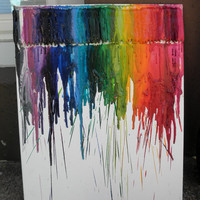 Rainbow Crayon Melting on Canvas Experiment16x20 by katy8thekat