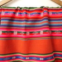 Tribal Fabric, South American Aguayo Woven Textile, Peach Orange