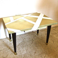 Gold and Black Geometric Modern Short Side Table or by kimbates79