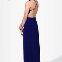 LULUS Exclusive Rooftop Garden Backless Royal Blue Maxi Dress