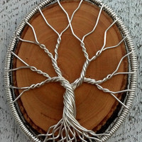 Eco Friendly Reclaimed Wood Pendant - Recycled Sterling Silver Tree of Life
