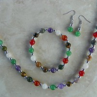 Amethyst Amazonite Carnelian Rose Quartz Multi Gemstone Jewelry Set