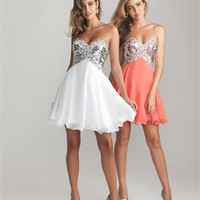 Short Strapless Sweetheart Bodice Sequins Beaded Chiffon Prom Dress PD2073