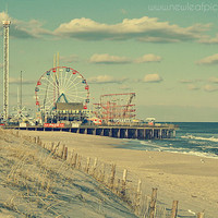 Seaside Heights Boardwalk vintage style photograph- Funtown Pier - Jersey Shore, landscape photography, beach decor