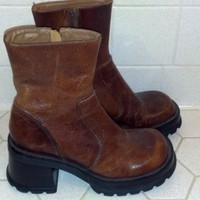 Brown Leather Chunky Boots in Ladies Size 6.5B