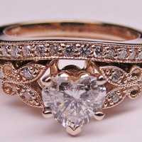 Engagement Ring - Heart Shape Diamond Butterfly Vintage Engagement Ring setting &amp; Matching Wedding Band 0.16 tcw. In Rose Gold - ES334HSBSPG