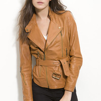 Kenna-T Belted Leather Moto Jacket