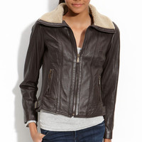 MICHAEL Michael Kors Leather Scuba Jacket with Faux Shearling Trim