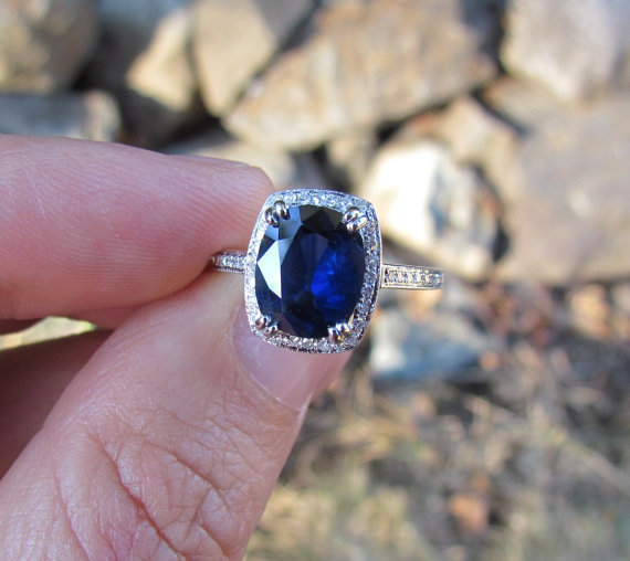 Blue Sapphire Ring in 14k White Gold with by pristinejewelry