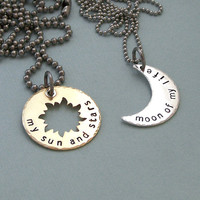 His and Hers Khal/Khaleesi Necklaces - Game of Thrones - Hand Stamped Brass and Sterling Sivler - Stainless Steel Chains