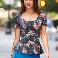 Floral Heart Back Peplum