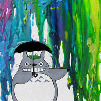 In the Rain Limited Edition Art Print - Rainbow - Neon Colors - Melted Crayon - Totoro - Umbrella