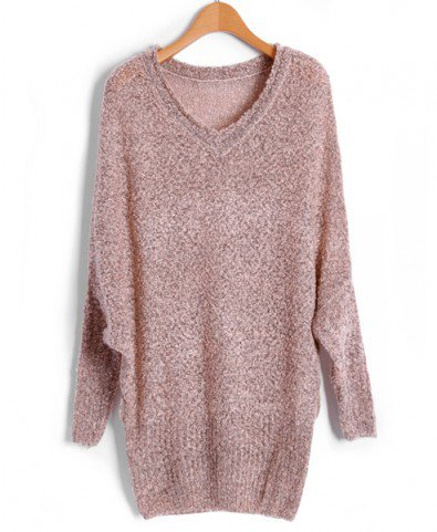 Beige Fluffy V Neckline Jumpers with  Batwing Sleeves
