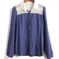 Blouse with Contrast Lace Detail