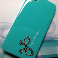 Tiffany iPhone case -  Bottom Ribbon, Tiffany iPhone 5 case, Tiffany iPhone 4S case, Tiffany iPhone 4 case, Tifanny Bling Rhinestone Case