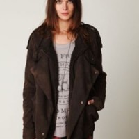 Free People Womens We The Free Oversized Fleece Moto Jacket -