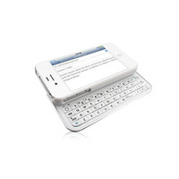 White Soft Touch Case with Full Bluetooth Keyboard For iPhone 4 and 4S