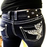 MISS ME JEANS 33x33 - ANGEL CROSS WINGS!!