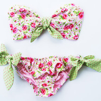 Vintage Bow Bandeau Sunsuit Bikini style. DiVa Halter Neck Top. Pink and Green Sunkini Sunbathing. Sexy and cute.
