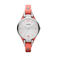 FOSSIL Watch Styles Leather Watches:Women Georgia Leather Watch  Coral ES3219
