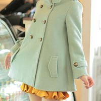 Dream in Mint Fur Trim Collar Corduroy Coat in Mint Green | Sincerely Sweet Boutique