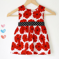 Toddler Christmas dress white, red and black flower