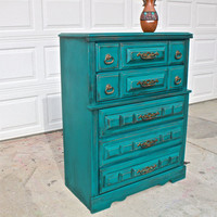 Teal Blue Vintage Chest/ Dark Glaze /Stylish Hardware /Bedroom Furniture/ Dresser/ TV Stand/ Storage/ Distressed