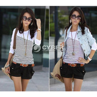New Hot Women Stripe Casual Crew Neck Long Sleeve Tops T-Shirt Blouses Tee
