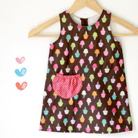A line dress toddler girl dress, Ice cream colorful